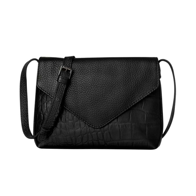 Crossbody, m. croco i bund Sort 1