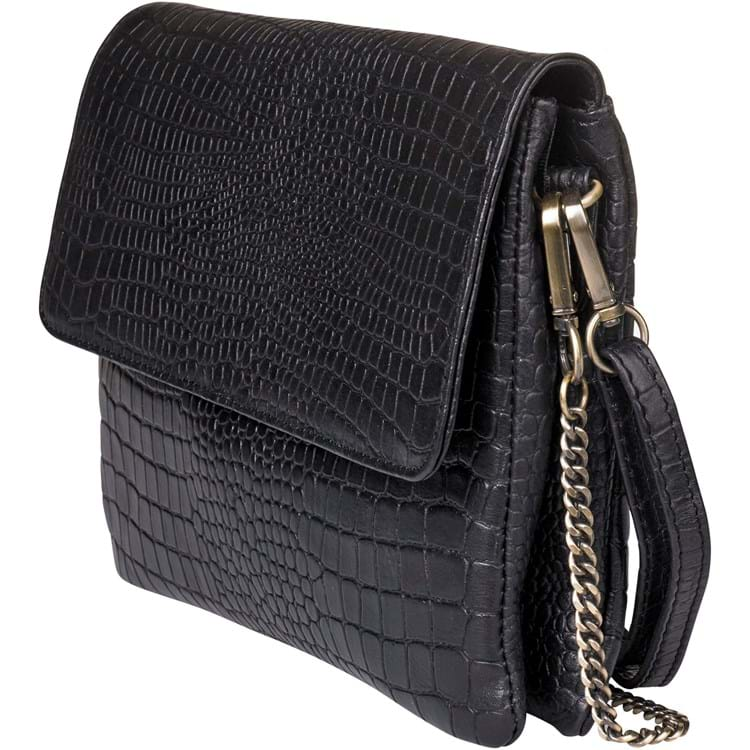 Crossbody large croco Sort 1
