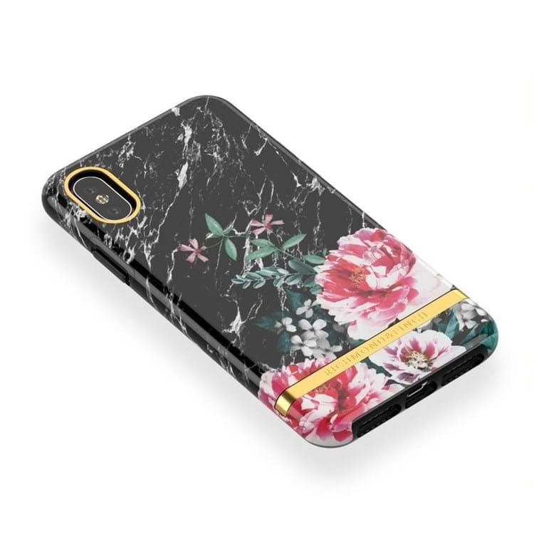iPhone Cover Black Marble Flor Sort/med blomster 4