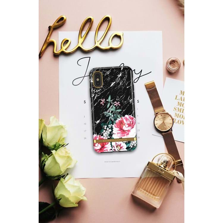 iPhone X/XS Cover Sort/med blomster 4