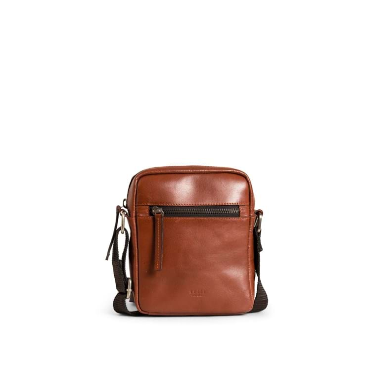 Skuldertaske Clean Small Zip  Cognac 1