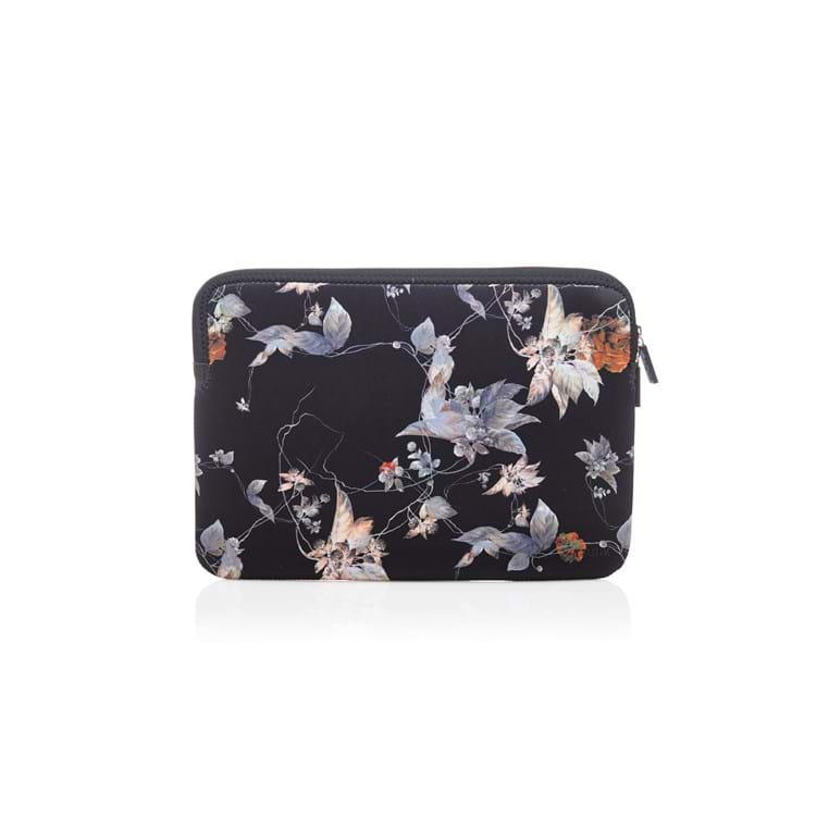 Laptop Sleeve Sort/med blomster 1