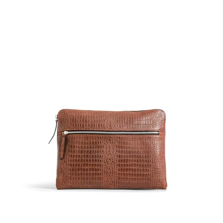 Computer sleeve Dundee Brown Croco 1